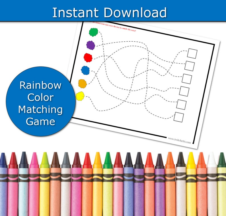 Rainbow Color Matching Printable Rainbow Activity Learn Etsy