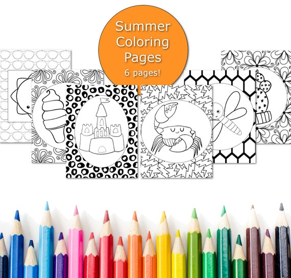 Summer Coloring Pages For Kids Printable Summer Party Favor