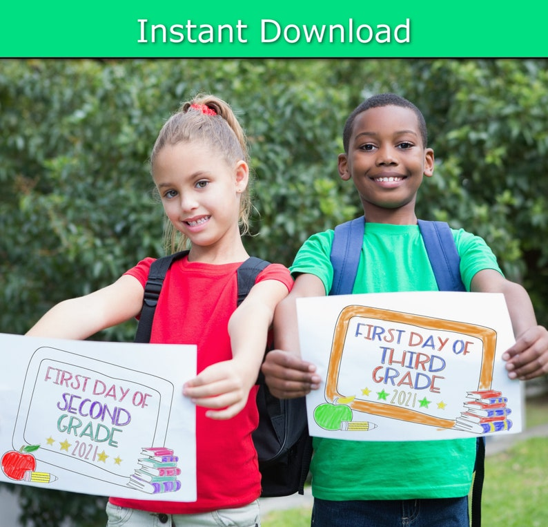 First Day of School Sign Back To School 2021 Printable Sign image 0