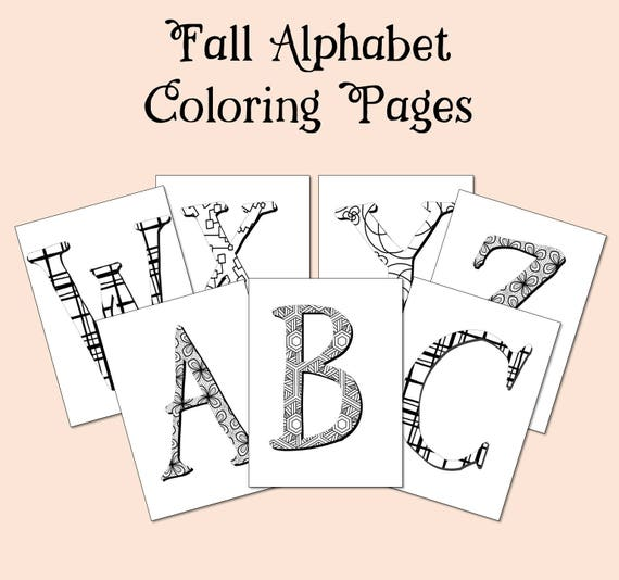 Fall Coloring Pages Alphabet Coloring Book Preschool Etsy