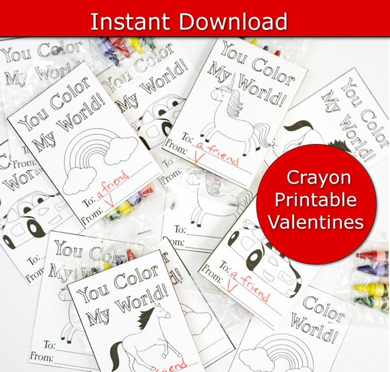 Class Valentines Preschool Valentines Crayon Valentine's image 0