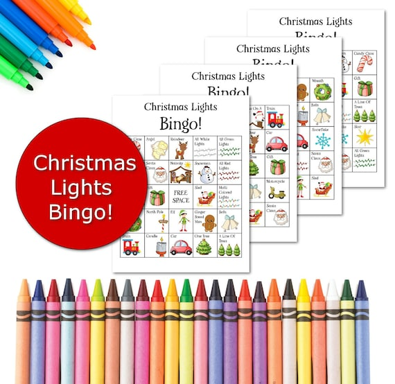 Christmas Games Printable Holiday Lights Bingo Game Family Etsy