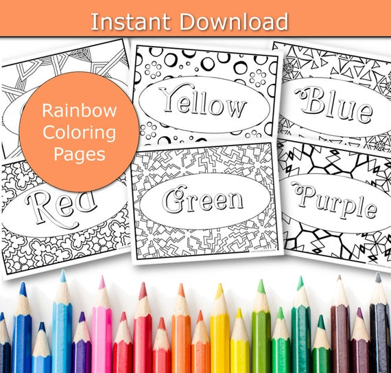 Rainbow Coloring Pages Screen Free Activities Preschool And Etsy