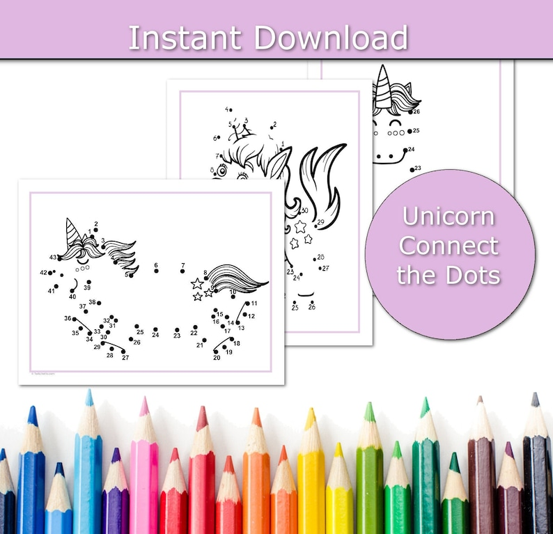 Unicorn Printable Activity for Kids Unicorn connect the dots image 0