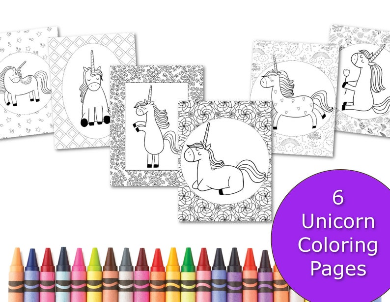 Unicorn Coloring Pages Coloring Pages For Kids Party Favors Etsy