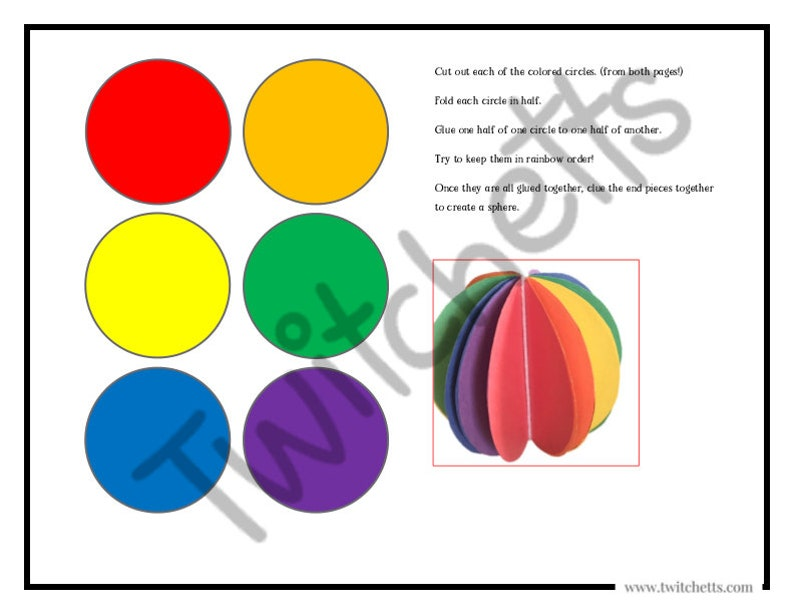 3d Sphere Craft Template To Help Kids Learn Rainbow Colors Etsy