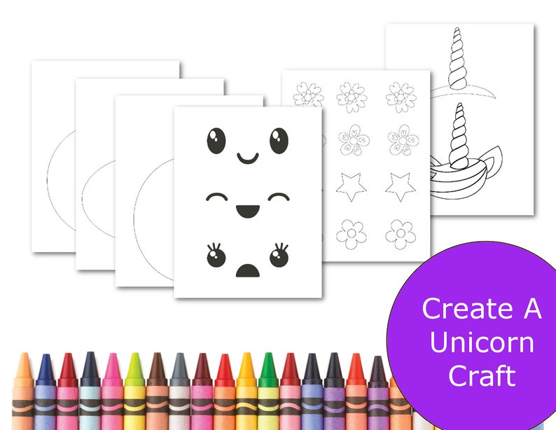 Unicorn Kids Craft Printable Crafts For Kids Unicorn Etsy