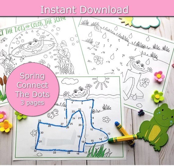 Spring Printable Activity for Kids Spring connect the dots
