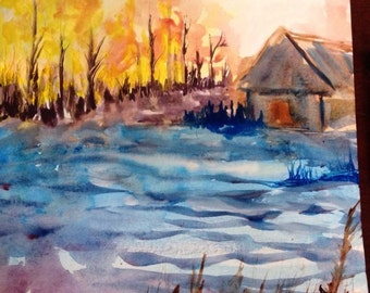 Original abstract landscape water color painting