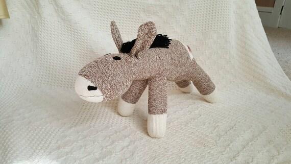 Denny The Brown Sock Donkey 18 By Monsockeys Handmade Red Heel Sock Donkey Stuffed Donkey Sock Monkey Donkey Brown Donkey Toy Novelty