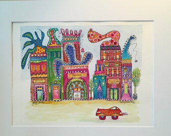 Watercolor painting,illustration, Town,Streets.buildings,houses,cityscape,city,village,California artist,JoanSachs