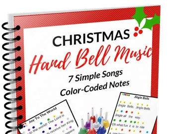 Christmas Hand Bell Music EBook- 7 Song Sheets- Poster and Letter Size- Digital Download PDF