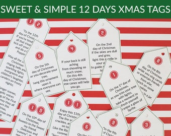sweet simple 12 days of christmas poem tags christmas gift idea digital download - When Do The 12 Days Of Christmas Start