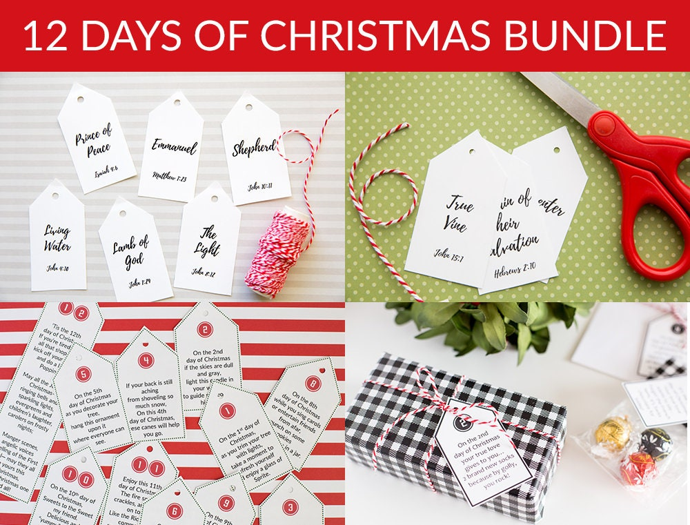 image about 12 Days of Christmas Printable Tags referred to as 12 Times of Xmas Tags Cut price Offer! - Electronic Down load