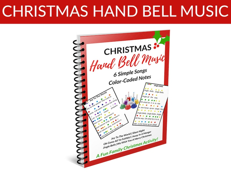 Christmas Hand Bell Music EBook 6 Song Sheets Poster and image 0