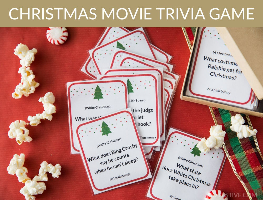 72 Christmas Movie Trivia Game Cards Christmas Party Game | Etsy