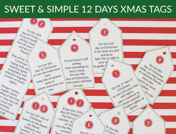 image 0 - Sweet & Simple 12 Days Of Christmas Poem Tags Christmas Gift Etsy