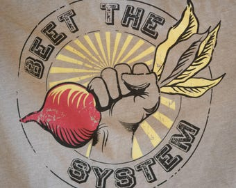 BEET THE SYSTEM Women's Witty Vegetable Activism T-shirt Gray