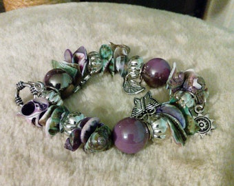 Gemstones And Seashell Bracelet