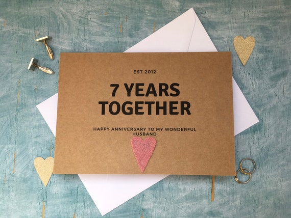 Her Wool Personalised Handmade 7th Wedding Anniversary Card Him For The