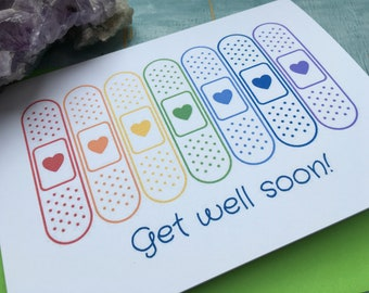 Rainbow bandage Get well soon card, rainbow plasters get well card, personalised get well soon card, custom get well card