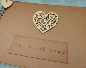 5th anniversary gift for wife, our fifth year scrapbook album, wood anniversary gift for her, photo album memory book