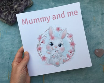 Mummy and me photo journal, printed pink bunny rabbit scrapbook for mummy and baby photos, toddler girl photo album, new baby girl gift