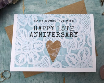 13th anniversary card for husband or wife, lace anniversary card for 13 years married