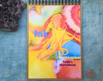 Personalised art journal, recycled sketchbook, psychadelic squid sketchbook mixed colour pages gift for an artist sketch book art jotter