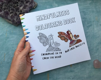 mindfulness colouring book, mindful coloring book for adults or older children, colouring book for relaxation, teacher appreciation gift