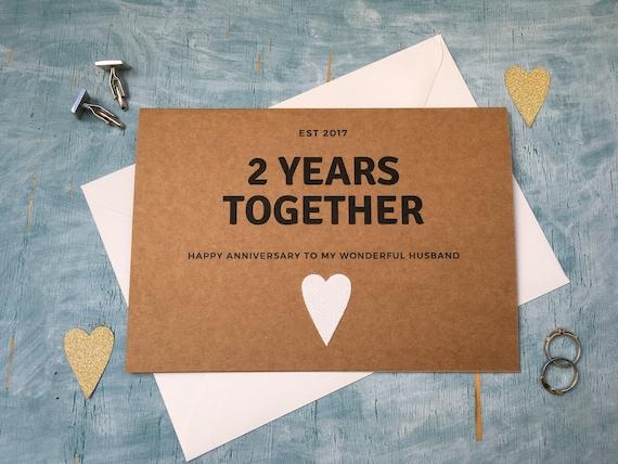 Personalised Custom Second Year Wedding Anniversary Card Etsy