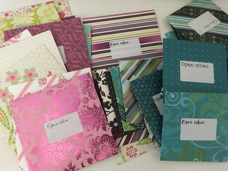 Open when envelopes, love letters, letter writing envelopes, open when  handmade gift stationary, deployment gift random envelopes