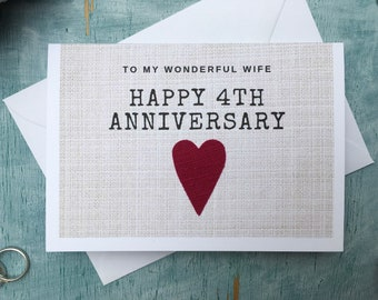 4th anniversary card for husband or wife, linen anniversary card for 4 years married