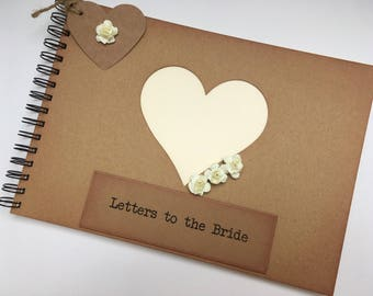 letters to the bride scrapbook album, rustic wedding gift for the bride