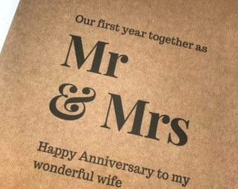 1st anniversary card, first year together card for paper anniversary, one year anniversary card for husband