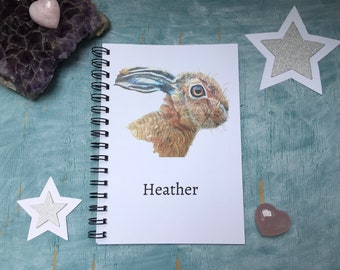 personalised hare sketchbook, customised rabbit notebook, notebook with name, hare thank you gift for art teacher end of year