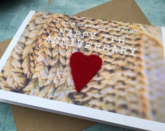 7th anniversary card for husband or wife, wool anniversary card for 7 years married