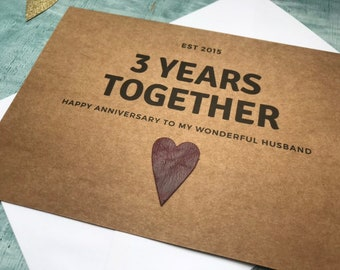 3rd anniversary card, personalised leather anniversary card, personalized leather anniversary card for 3 years together