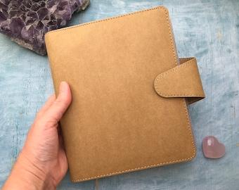 kikki k planner, kraft brown undated year planner by kikki k, binder style notebook planner journal with grid lined and blank paper