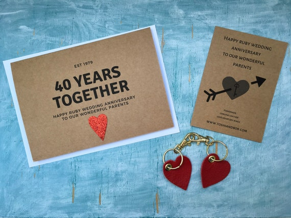 Personalised Custom 40 Years Ruby Wedding Anniversary Card And Etsy