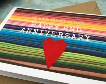 Second anniversary card for husband or wife, cotton anniversary card for 2 years married, 2nd anniversary card