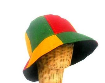 61eea153f27 Bucket Hat Boho Rasta Hat Hemp Hat Hippie Reggae Bucket hat unisex Cap hat  Bohemian Jamaican hat Sun Hat gift