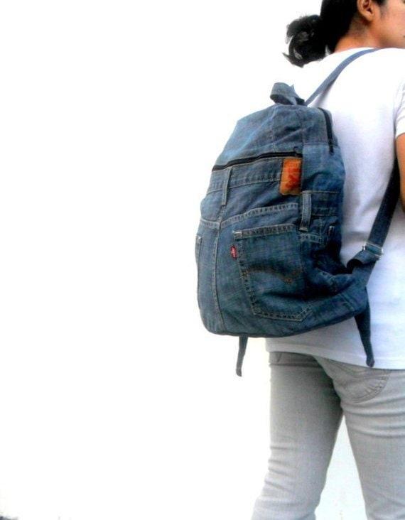 Sac à dos en denim jeans Levis sac en jean recyclé jeans   Etsy 0b5d4779253a