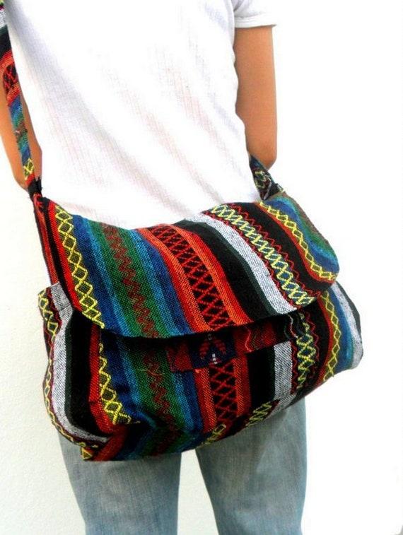 Crossbody Bag Bohemian Bag Shoulder Bag Purple Red Yellow Green Multicolor Hippie Boho Hobo Art Bag Handmade Sling bag Thai Bag  Gift