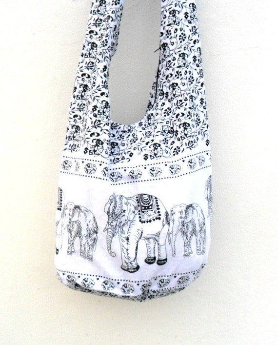 Sac à bandoulière Cross Body Bag la main sac Elephant sac Hobo Crossbody sac Hippie Boho Bohème sac cadeau sac à main / sac de toile de couleur blanc