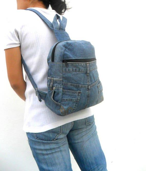 jeans backpack bag denim Bag reclaimed jean bag rucksack bag   Etsy 71d7b291c6