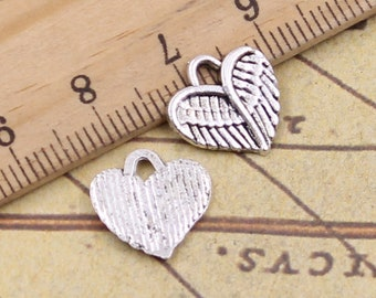 Antique Bronze Tone Jewelry Charms Angel Love Heart Cupid Rose Crown Wings Craft