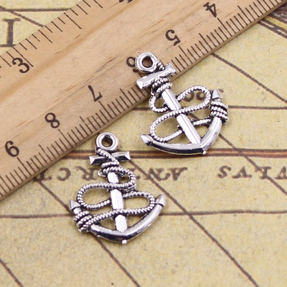 40pcs Antiqued Bronze Alloy Boat Anchor Charms Pendant Craft Jewelry Findings