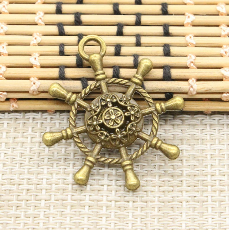 5pcs Rudder charms pendant 40x35mm Antique bronze ornament accessories jewelry making DIY handmade craft base material