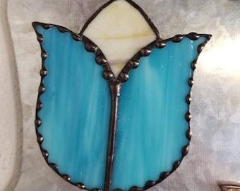 Blue and Cream Magnetic Tulip Suncatcher